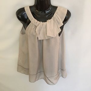 BCBG Max Azria Sleeveless Blouse Gray Yellow Sz XS